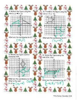 8th grade Math Transformations (Christmas Border or Blue Border)