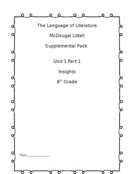 8th grade McDougal Littell The Language of Literature Supplemental Pack