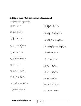 8th grade Monomials And Polynomials Math Workbook
