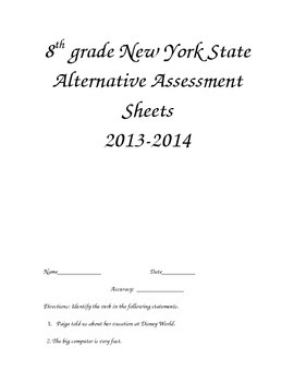 8th grade New York State Alternative Assessment Sheets