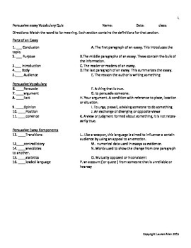 8th grade Persuasive Essay vocabulary tests- bundle