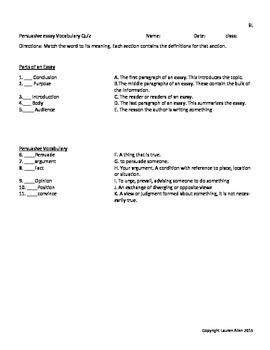 8th grade Persuasive Essay vocabulary tests- bundle