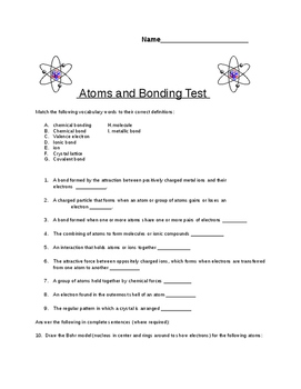 8th grade Quiz on Atomic structure