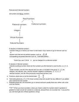 8th grade STAAR review study guide rational, irrational, a