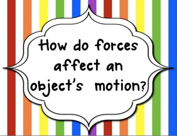 8th grade Science Guiding Questions for Force and Motion Unit