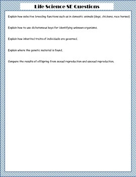 8th grade Science STAAR SE Review Questions
