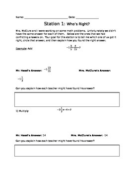 8th grade Task Rotation for Fractions and Volume