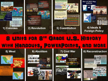 8th grade U.S./American History SUMMER SCHOOL BUNDLE: 8 detailed units