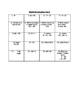 8th grade Weekly No Calculator Tests