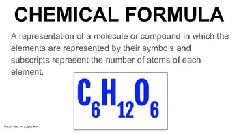 8th grade Word Wall - Chemical Formulas and Reactions