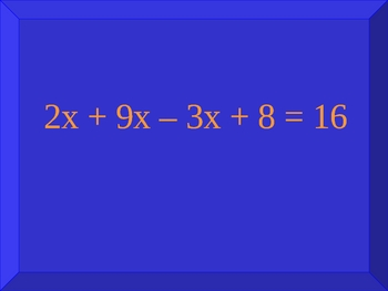 8th grade math (Algebra) review game #3
