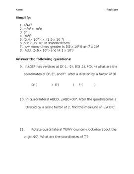 8th grade math final