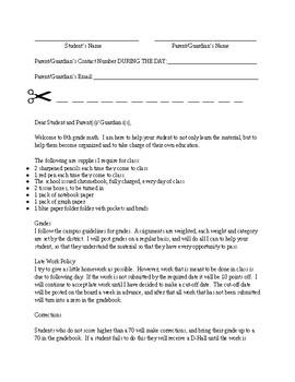 8th grade math parent letter for beginning of school