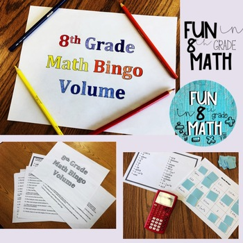 8th Grade Math Volume Review Bingo