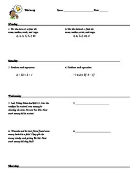 8th grade math warm up