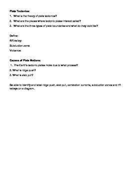8th grade plate tectonics study guide