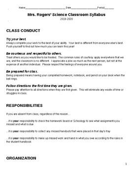 8th grade science class syllabus with curriculum pacing gu