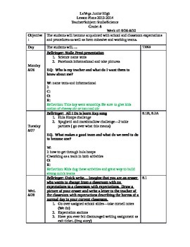 8th grade science lesson plans--week 1
