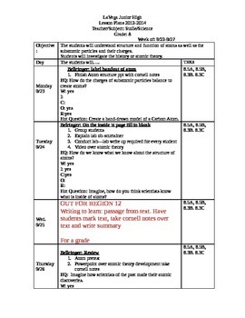 8th grade science lesson plans--week 5