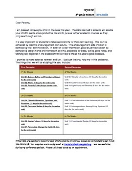 8th grade science welcome letter