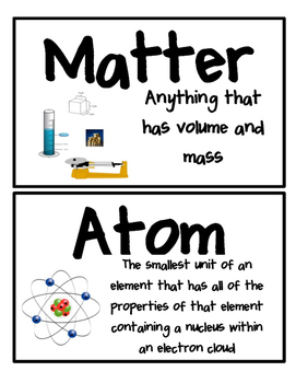 8th grade science word wall card with word, picture, and definition