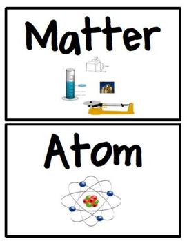 8th grade science word wall cards (word and picture)