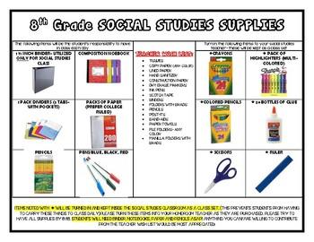8th grade- social studies School Supply List (editable)
