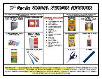 8th grade- social studies School Supply List (editable)