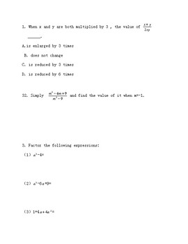 8th grade test prep worksheets, with answer keys