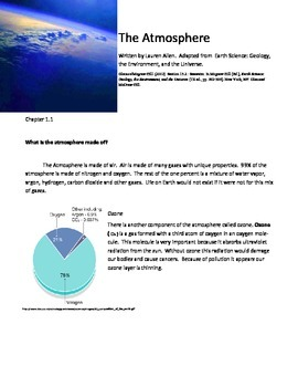 8th grade text on Atmosphere,  simplified for ESL/LD