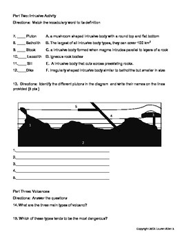 8th grade volcanic activity leveled test- at level or above