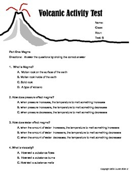 8th grade volcanic activity leveled test- basic/esl/sped