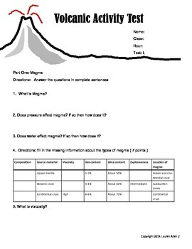 8th grade volcanic activity leveled test- below to low level