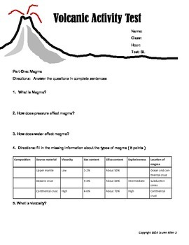 8th grade volcanic activity leveled test- very below level