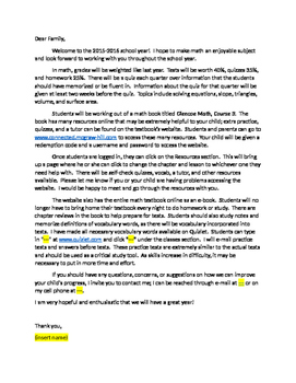 8th grade welcome letter