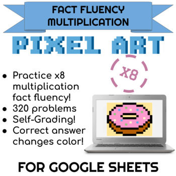 8x Multiplication Pixel Art! Digital Practice for Math Facts with Secret Reveal!