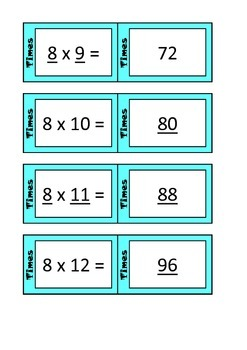 Quiz Quiz Trade 8x Times Table Cards