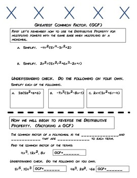 9.1-9.2 Greatest Common Factor Notes