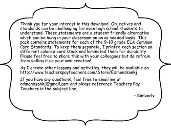 """9-10 ELA Common Core """"I Can"""" Statements"""