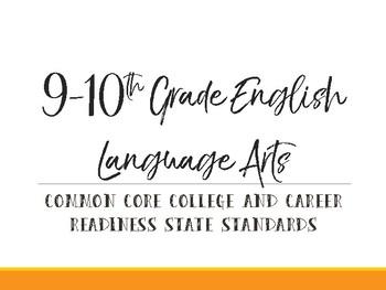9-10th Grade Common Core Standards Cards