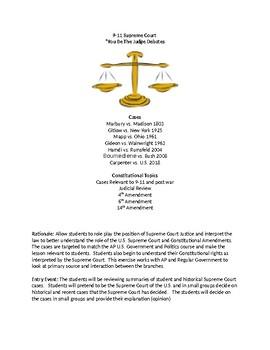 "9-11 Civil Liberties ""You Be The Judge"" Supreme Court Simulation"