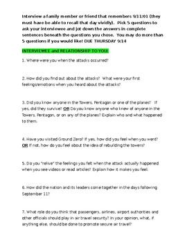 9/11 INTERVIEW ACTIVITY