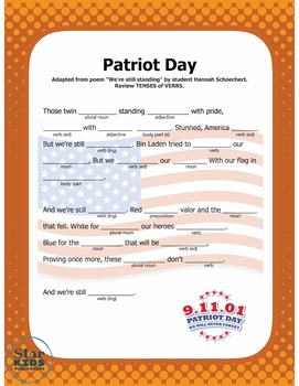Patriot Day (September 11th) Mad Lib (interactive pdf and Google slide)