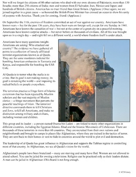 September 11 Speech by President Bush Freedom and Fear Are at War Primary Source