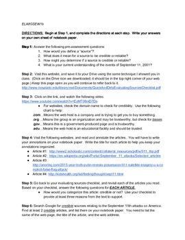 9/11 Webquest: Evaluating Sources