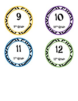 9-12 Grade Printable Circle Labels, Cool Colors