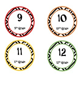 9-12 Grade Printable Circle Labels, Warm Colors