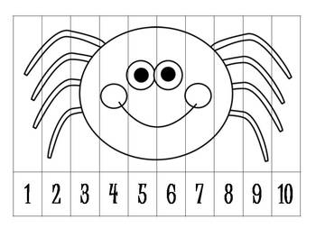 9 Autumn/Halloween Number Order Puzzles B&W {FREEBIE}