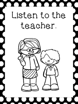 9 Black and White Class Rules Printable Posters/Anchor Charts.