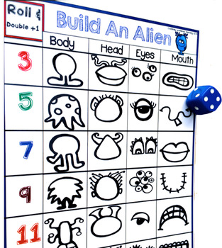 9 Build An Alien Math and Literacy Game (from Roll Draw Write Full Year Bundle)